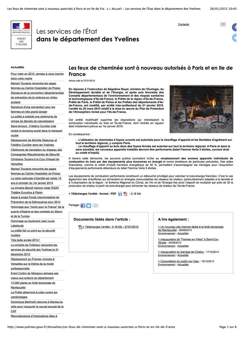 Les feux de cheminée sont à nouveau autorisés à Paris et en Ile de France : Actualités : Accueil - Les services de l'État dans le département des Yvelines