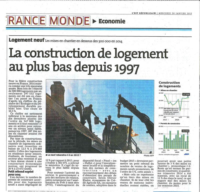 La construction de logement au plus bas depuis 1977
